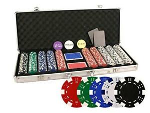 DA VINCI 500 Piece 11.5 gr Poker Chip Set w/Case & Playing Cards (Dice Striped)