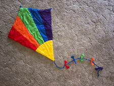 Vintage 80s Rainbow Kite Plush Wall Hanging Bows Nursery Kids Room Colorful