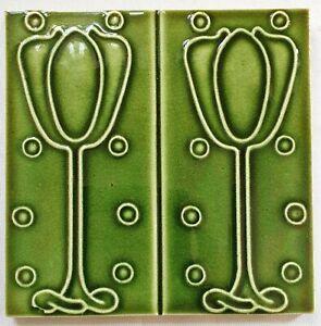 Original English Art Nouveau Majolica Tile  T & R Boote Ltd.