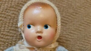 VINTAGE COMPOSITION BABY DOLL W/CLOTHES FULLY JOINTED SO SO CUTE!