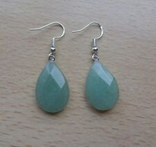 Green AGATE faceted  gemstone drop  EAR RINGS St Silver Gift wrapped