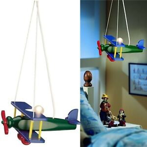 Philips Kids Ceiling Lamp Light Plane Helicopter Wooden Aeroplane Pendant boy