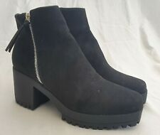 New Look Black Ankle Boots, Silver Zip Detail Size UK 6 EU 39 BRAND NEW