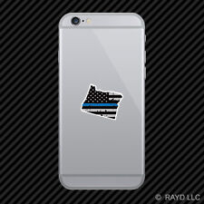 Distressed Thin Blue Line Oregon Shaped Subdued US Flag Cell Phone Sticker OR