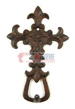 Cast Iron Cross Key Holder Fleur De Lis Wall Mounted Antique Style Victorian