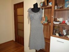 R.E.D. VALENTINO GREY KNITTED WOOL/CASHMERE A-LINE TIED STRAPS KNEE DRESS-IT 42