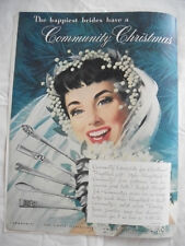 1949 VTG Orig Magazine Ad Community Plate SiIverware For A Christmas Gift