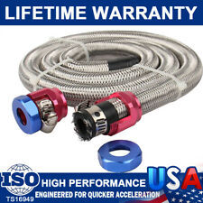 "CarBole 3/8 "" Hose 3ft. Stainless Steel Braided Fuel Line Kit 1526 New w/ Clamps"