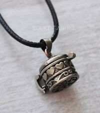Antique Silver Plt  Wish Box Locket Pendant Necklace Love girls ladies Gift