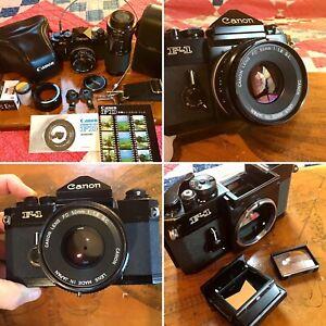 Vintage Canon F-1 35mm SLR Camera w/ 2-Lenses, Cable Release, Strap, Case