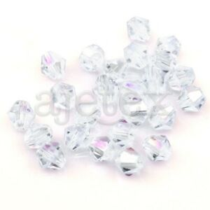 120pcs 4mm White AB Bicone Faceted Loose Crystal Beads Jewelry DIY CR0217