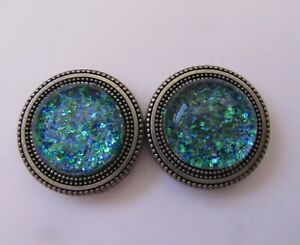 Magnetic Buttons -set of 2- OCEAN SPARKLE round-glitter blue-use on scarf hat