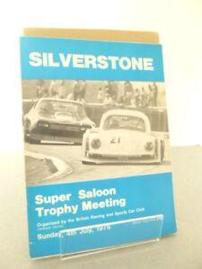 Silverstone Super Saloon Trophy Motor Race Meeting Programme 4th July 1976