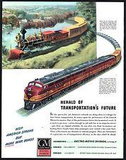 1944 BOSTON and MAINE RAILROAD Train Art GM Electro-Motive Locomotive AD