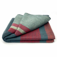 "SOFT & WARM STRIPED ALPACA LLAMA WOOL BLANKET CARBON RED 98""x67"" QUEEN"