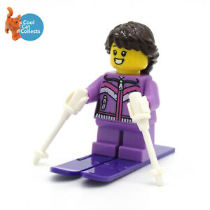 Genuine NEW Lego Winter Seasonal Skier Female Girl Minifigure with Accessories
