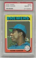 1975 TOPPS #660 HANK AARON, PSA 8 NM-MT, HOF, ATLANTA BRAVES, CENTERED,  L@@K