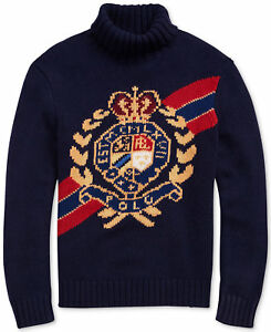 Polo Ralph Lauren VTG Retro 100% Wool Crest Crown Ski Turtleneck Knit Sweater 92