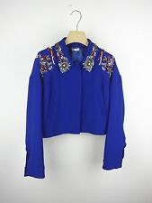 MIU MIU Blue Cady Embroidered Embellished Cropped Jacket IT40/US6 NWT