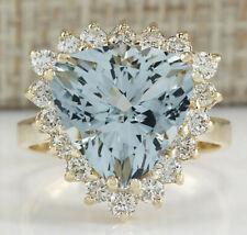 5.84 Carat Natural Aquamarine 14K Yellow Gold Diamond Ring