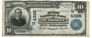 1902 PB $10 FIRST NATIONAL BANKNOTE CURRENCY MUSKOGEE OKLAHOMA CHOICE VERY FINE