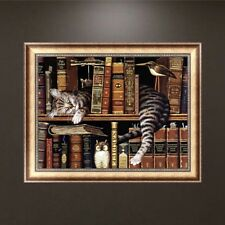Bookshelf Cat DIY 5D Diamond Painting Embroidery Cross Stitch Home Decor Craft