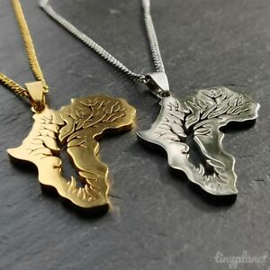 Africa Necklace Pendant Tree Chain Map Travel African Gift Charm