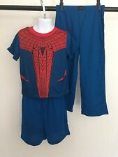 Spider-man marvel boy's 3pc pajama set shirt, short, pant 5T blue