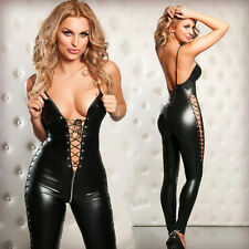 Black Catwoman False Leather Wetlook Jumpsuit Catsuit Clubwear Fancy Dress 7071