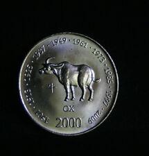 Somalia 2000 World Coin 10 Shillings Scellini KM91 Leopard Asian Astrology Ox