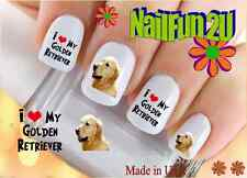"""Nail Art #133 Dog Breed """"Golden Retriever Love"""" WaterSlide Nail Decals Transfers"""