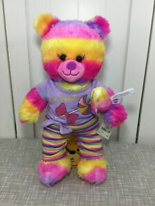 💖 Build a Bear Bright Multicolor Stripes Popsicle Bear w/ So Sweet Outfit 💖