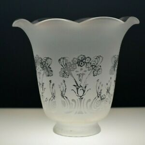 Vintage Tulip Frosted Glass Shade Ruffled Top  Acid Etched Floral Design