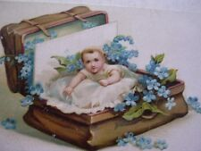 """""""A Happy Birthday to You"""" Baby in a Leather Suitcase Unused Post Card Neat"""