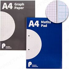 QUALITY A4 MATHS PAD SQUARED Or GRAPH PAPER Notepad 80 Page Grid School Homework