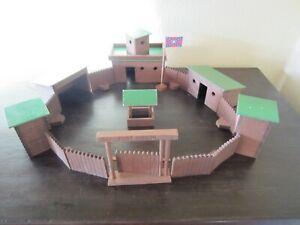 """ELASTOLIN FORT GIBSON """"Süd"""" Western Fort Cowboy Haus Indianer Holz"""