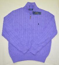 $98 New Medium M POLO RALPH LAUREN Men cable knit Half zip cotton Sweater Purple