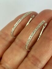 9ct White Gold Hinged Hoop Diamond Earrings - A6672