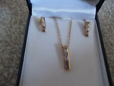 9CT GOLD MULTI GEM NECKLACE AND MATCHING EARRINGS