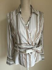 Next Women's Striped Cotton Blend Long Sleeve Sleeve Tops & Shirts