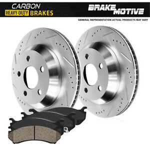 Rear Drill Slot Brake Rotors & Carbon Ceramic Pads For Ram Promaster 2500 3500