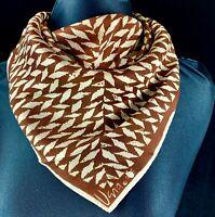 1960s Vera Neumann Scarf 22 inch Square Polyester Japan Brown White Geometric