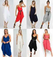 Ladies Womens Cami Strappy Ali Baba Hareem Romper Baggy Oversized Jumpsuit UK