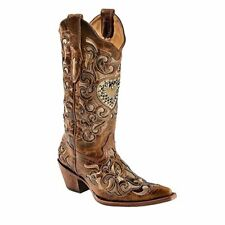 CORRAL Women's Sand Maipo Crystal Heart Pointed Toe Cowgirl Boots C1151