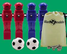 "2 Red/2 Blue Dynamo Foosball Men for 5/8"" Rod + 2 Soccer Foosballs + Screws/Nuts"