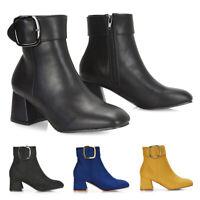 Womens Ankle Boots Ladies Low Mid Block Heel Buckle Zip Casual Biker Booties 3-8