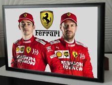 """Sebastian Vettel & Charles Leclerc F1 Ferrari  Framed Canvas Print Signed """"Gift"""""""