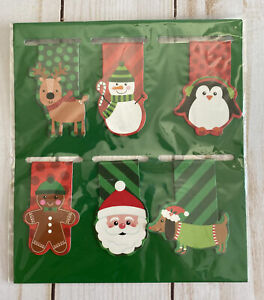 6 Magnetic Bookmarks Christmas Gingerbread Santa Penguin Reindeer Snowman Dog
