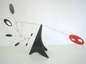 Red and Black Tabletop Mobile Mid-century Modern Sculpture Hanging Art Stabile