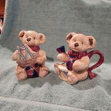 Unmarked Decorative Teddy Bear Sugar and Creamer Set, Ceramic - Adorable